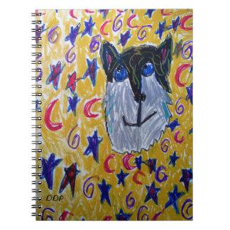 Caderno Espiral lobo e estrela e lua