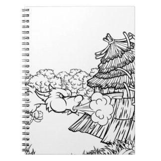 Caderno Espiral Lobo mau grande que funde abaixo dos porcos