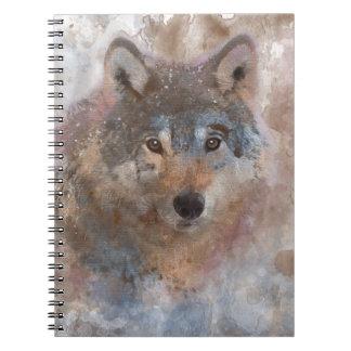 Caderno Espiral Lobo na aguarela