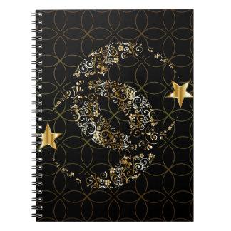 Caderno Espiral Lua floral e estrela
