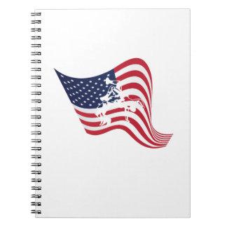 Caderno Espiral Luta do Wrestle do amor da bandeira americana