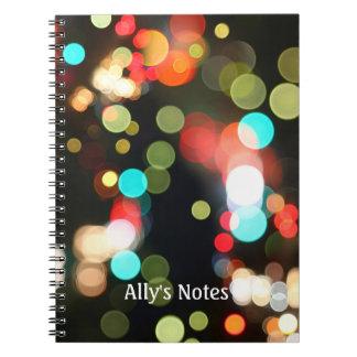 Caderno Espiral Luzes Funky redondas coloridas abstratas de Bokeh