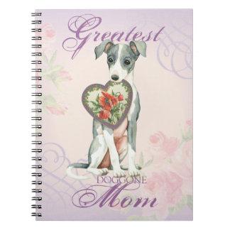 Caderno Espiral Mamã do coração do galgo italiano