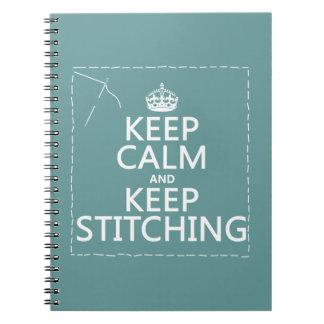 Caderno Espiral Mantenha a calma e mantenha-a costurar (todas as