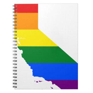 Caderno Espiral Mapa da bandeira de Califórnia LGBT