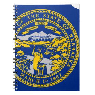 Caderno Espiral Mapa da bandeira de Nebraska
