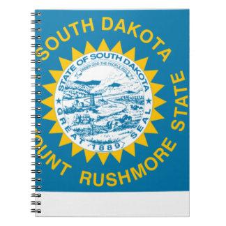 Caderno Espiral Mapa da bandeira de South Dakota