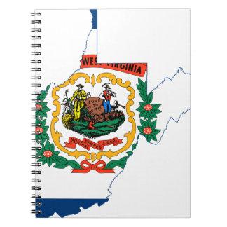 Caderno Espiral Mapa da bandeira de West Virginia