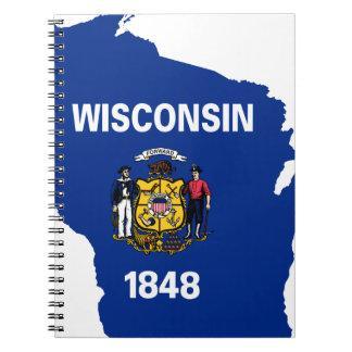 Caderno Espiral Mapa da bandeira de Wisconsin