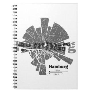 Caderno Espiral Mapa de Hamburgo