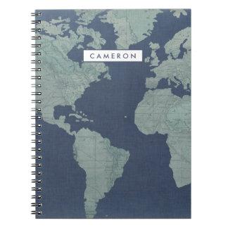Caderno Espiral Mapa do mundo de linho azul