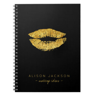 Caderno Espiral Maquilhador preto simples do encanto dos lábios do