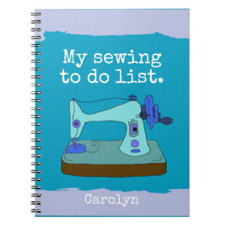 Caderno Espiral Máquina de costura do vintage - meu sewing para