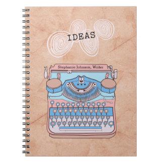 Caderno Espiral Máquina de escrever do vintage com ideias de roda