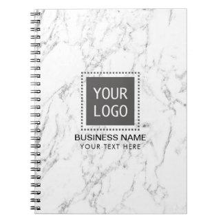 Caderno Espiral Mármore branco elegante do logotipo feito sob