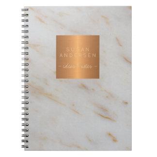 Caderno Espiral Mármore cinzento metálico de cobre de aço do ouro