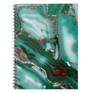 Caderno Espiral Mármore luxuoso da ágata de pedra preciosa da