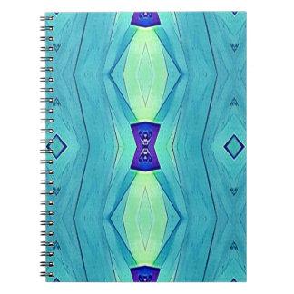Caderno Espiral Máscaras modernas vibrantes da hortelã do azul da