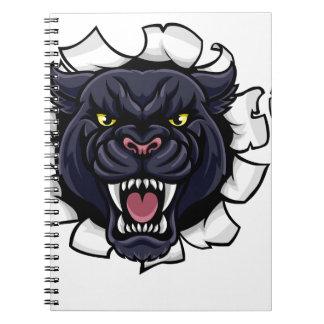 Caderno Espiral Mascote do futebol da pantera preta que quebra o