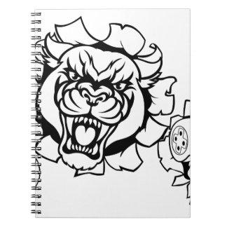 Caderno Espiral Mascote irritada de Esports do Gamer da pantera
