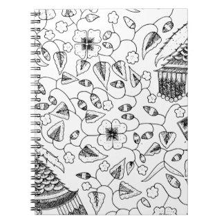 Caderno Espiral Matéria têxtil indonésia florido com pássaros