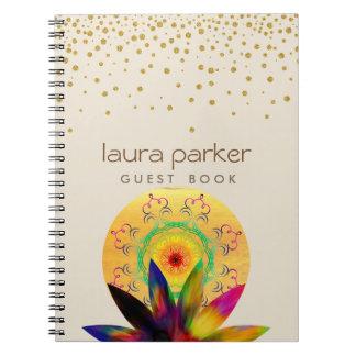 Caderno Espiral Meditação do vintage da ioga da flor de Lotus