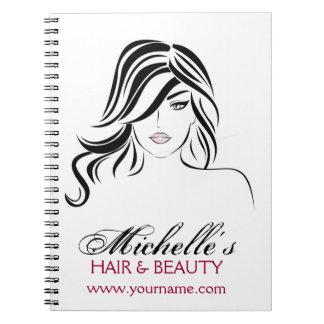 Caderno Espiral Menina bonita com ícone do cabelo ondulado e da