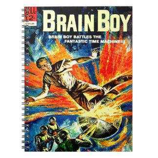 Caderno Espiral Menino do cérebro e a máquina do tempo