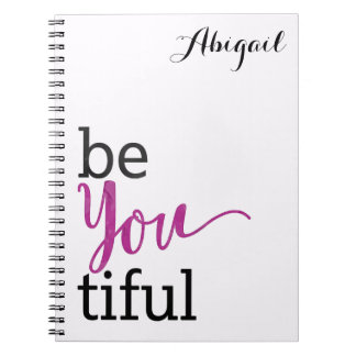 Caderno Espiral mensagem inspirada beYOUtiful personalizada