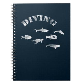 Caderno Espiral Mergulho autónomo, peixes nadadores. Vida marinha,