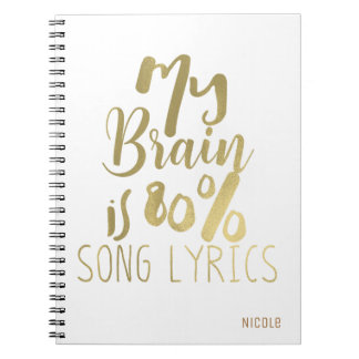 Caderno Espiral Meu cérebro é ouro dos poemas líricos da canção de