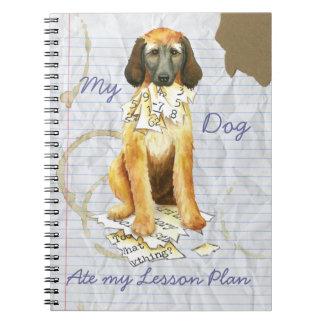 Caderno Espiral Meu galgo afegão comeu meu plano de aula