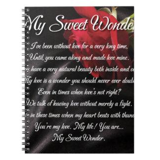 Caderno Espiral Meu poster doce da poesia da maravilha