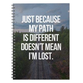 Caderno Espiral Meu trajeto é citações diferentes