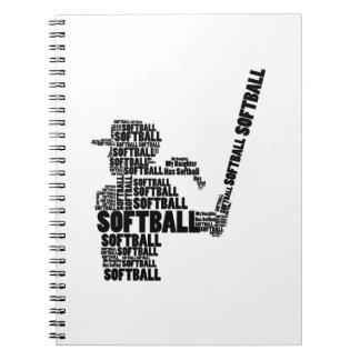 Caderno Espiral Miúdo da juventude da mamã do softball do fã do