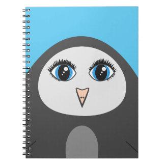 Caderno Espiral Miúdos Eyed grandes do pinguim dos desenhos
