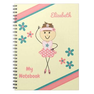 Caderno Espiral Miúdos personalizados cor-de-rosa e bailarina