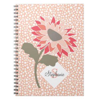 Caderno Espiral Monograma aleatório dos pontos da flor dos