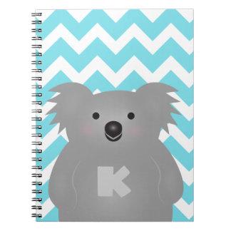 Caderno Espiral Monograma bonito do urso de Koala do bebê de