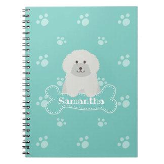 Caderno Espiral Monograma branco macio bonito do amante do cão de