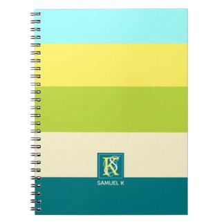 Caderno Espiral Monograma colorido fresco e feliz das listras