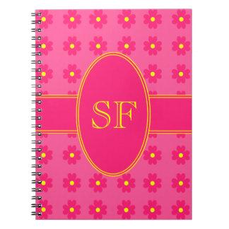 Caderno Espiral Monograma cor-de-rosa e amarelo da margarida