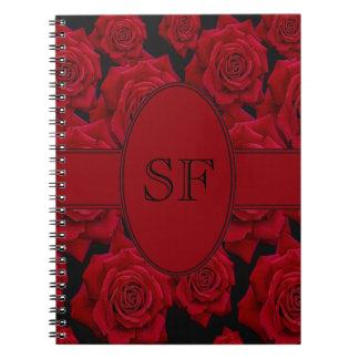 Caderno Espiral Monograma da rosa vermelha