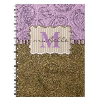 Caderno Espiral Monograma do teste padrão de Paisley