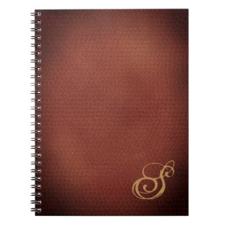 Caderno Espiral Monogrammed elegante do olhar do couro do falso