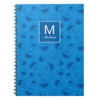 Caderno Espiral Monstro do biscoito | mim teste padrão azul