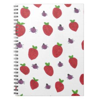 Caderno Espiral Morangos e senhora Insetos Frutado Teste padrão