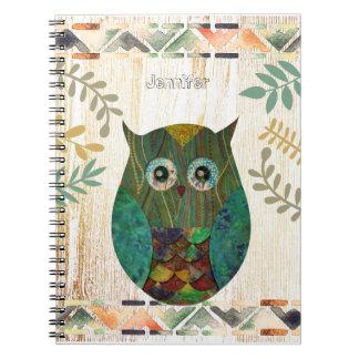 Caderno Espiral Motivo tribal da sabedoria da coruja