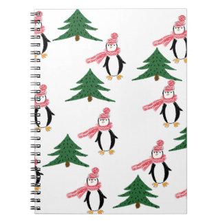 Caderno Espiral Muffin do pinguim do Natal