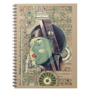 Caderno Espiral Mulher de Steampunk da metrópole